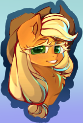 Size: 1151x1700 | Tagged: safe, artist:haokan, applejack, earth pony, pony, bust, chest fluff, cute, female, looking at you, mare, portrait, simple background, smiling, solo