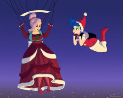 Size: 1290x1035 | Tagged: safe, artist:carnifex, princess celestia, princess luna, human, air ponyville, alternate hairstyle, christmas, clothes, commission, costume, dress, duo, falling, gown, hat, holiday, humanized, miniskirt, night, parachute, royal sisters, santa costume, santa hat, skirt, skydiving
