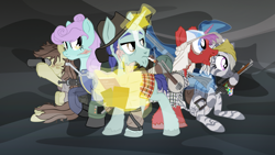 Size: 2600x1463 | Tagged: safe, artist:aaronmk, oc, oc only, earth pony, pony, unicorn, zebra, fallout equestria, backpack, banjo, battle saddle, beads, binoculars, blaze (coat marking), book, braid, cigarette, clothes, group, gun, hat, levitation, machine gun, magic, map, musical instrument, pen, pipbuck, plaid, quadrupedal, rifle, sitting, smoking, telekinesis, vault suit, vector, weapon