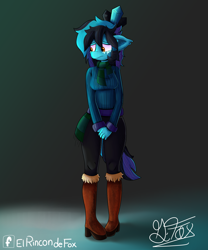 Size: 5000x6000 | Tagged: safe, artist:thedamneddarklyfox, oc, oc:ice diamond, anthro, boots, clothes, female, scarf, shoes, shy, solo, sweater
