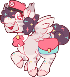 Size: 1280x1411 | Tagged: safe, artist:poicakesxox, oc, oc:dandyletters (rigbythememe), pegasus, pony, bag, bow, fangs, fluffy, hat, letter, mail, mailpony, male, necktie, simple background, solo, stallion, transparent background