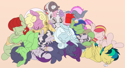 Size: 1542x844 | Tagged: safe, artist:manifest harmony, sweetie belle, oc, oc:anon, oc:apogee, oc:aurora sweetheart, oc:filly anon, oc:heartbeat, oc:nyx, oc:puppysmiles, oc:pythia, oc:scotch tape, oc:snowdrop, oc:sunny meadows, oc:zala, alicorn, earth pony, pegasus, pony, robot, unicorn, zebra, fallout equestria, fallout equestria: project horizons, fanfic:fallout equestria, fanfic:fallout equestria: homelands, fanfic:fallout equestria: pink eyes, fanfic:past, fanfic:the keepers of discord, cuddle puddle, cuddling, cute, diasweetes, drool, drool that looks like cum, fanfic art, female, filly, nibbling, not cum, pink background, pony pile, simple background, sleeping, sweetie bot, weapons-grade cute
