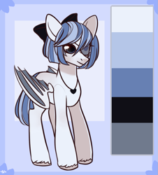 Size: 713x788 | Tagged: safe, artist:rerorir, oc, bat pony, pony, bow, eyepatch, female, hair bow, mare, solo