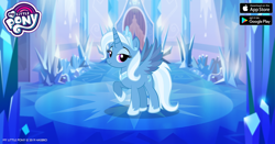 Size: 960x504 | Tagged: safe, idw, trixie, alicorn, pony, reflections, spoiler:comic, alicornified, blue, crown, crystal, facebook, gameloft, idw showified, jewelry, my little pony logo, princess of humility, race swap, raised hoof, regalia, solo, trixiecorn