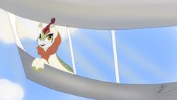 Size: 3840x2160 | Tagged: safe, artist:flywheel, autumn blaze, kirin, airship