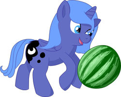 Size: 5347x4284 | Tagged: safe, artist:poniidesu, princess luna, alicorn, pony, /mlp/, absurd resolution, cute, drawthread, female, filly, food, kicking, lunabetes, ponified, ponified animal photo, simple background, solo, transparent background, watermelon, woona, younger