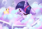 Size: 1600x1100 | Tagged: safe, artist:colorfulcolor233, twilight sparkle, alicorn, pony, bath, blushing, bubble, bubble bath, cute, eyes closed, female, floppy ears, mare, open mouth, rubber duck, solo, twiabetes, twilight sparkle (alicorn)
