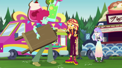 Size: 1920x1080 | Tagged: safe, screencap, oxford brush, snow flower, sunset shimmer, equestria girls, equestria girls series, sunset's backstage pass!, spoiler:eqg series (season 2), heartbreak, music festival outfit