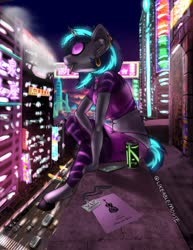 Size: 989x1280 | Tagged: safe, artist:likeablemouse, dj pon-3, vinyl scratch, anthro, unguligrade anthro, unicorn, airpods, balcony, car, cellphone, city, cityscape, clothes, colorful, ear piercing, earbuds, earring, energy drink, female, graffiti, implied octavia, japanese kanji, jewelry, lanyard, leggings, mare, midriff, neon, night, panties, phone, piercing, poster, solo, thong, underwear, vape, vinyl's glasses