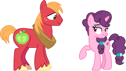 Size: 5313x3000 | Tagged: safe, artist:cloudyglow, big macintosh, sugar belle, hard to say anything, .ai available, female, lidded eyes, male, shipping, simple background, straight, sugarmac, transparent background, vector