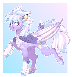 Size: 868x921 | Tagged: safe, artist:wanderingpegasus, cloudchaser, pegasus, pony, alternate hairstyle, chest fluff, ear fluff, female, mare, markings, raised hoof, raised leg, redesign, solo, unshorn fetlocks