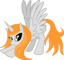 Size: 4713x4346 | Tagged: safe, artist:poniidesu, oc, oc only, oc:ginger peach, alicorn, pony, /mlp/, absurd resolution, alicorn oc, drawthread, female, horn, iwtcird, looking at you, mare, meme, simple background, solo, stretching, transparent background, wings
