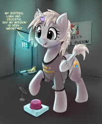 Size: 1397x1698 | Tagged: safe, artist:xbi, oc, alicorn, pony, alicorn oc, banana, blatant lies, button, cheated, clothes, food, horn, horn ring, magic suppression, obey, prison cell, raised hoof, sad, satellite dish, shirt, solo