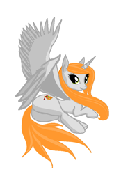 Size: 577x829 | Tagged: safe, artist:anonymous, oc, oc only, oc:ginger peach, alicorn, pony, /mlp/, alicorn oc, butt, cute, drawthread, female, laying on side, mare, ocbetes, plot, simple background, solo, thick, white background, wings