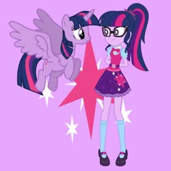 Size: 1280x1280 | Tagged: safe, artist:media1997, sci-twi, twilight sparkle, alicorn, pony, equestria girls, cutie mark background, duality, female, glasses, human ponidox, looking at each other, mare, self ponidox, smiling, spread wings, twilight sparkle (alicorn), twolight, wings