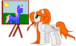 Size: 712x440 | Tagged: safe, artist:anonymous, oc, oc only, oc:ginger peach, alicorn, earth pony, pony, /mlp/, alicorn oc, canvas, drawthread, easel, paintbrush, painting, simple background, solo, sun, white background, wings