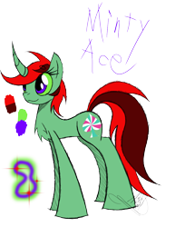 Size: 888x1150 | Tagged: safe, artist:didun850, oc, oc only, oc:minty ace, chest fluff, curved horn, female, glow, horn, mare, reference sheet, signature, simple background, smiling, text, transparent background