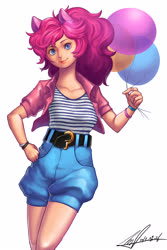 Size: 2664x4000 | Tagged: source needed, safe, artist:jggjqm522, pinkie pie, human, balloon, clothes, eared humanization, female, high res, humanized, pony ears, simple background, solo, white background