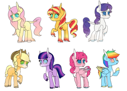 Size: 2904x2065 | Tagged: safe, artist:cheriophobia-queen, applejack, fluttershy, pinkie pie, rainbow dash, rarity, sunset shimmer, twilight sparkle, earth pony, pegasus, pony, unicorn, applejack (g5), black background, braid, braided tail, coat markings, colored wings, earth pony twilight, female, fluttershy (g5), g5, g5 concept leak style, hooves, mane six, mane six (g5), mare, pegasus pinkie pie, pinkie pie (g5), race swap, rainbow dash (g5), rarity (g5), redesign, simple background, tongue out, twilight sparkle (g5), unicorn fluttershy, white background, wings