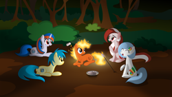 Size: 4000x2250 | Tagged: safe, artist:parallaxmlp, oc, oc only, oc:firefox, oc:google chrome, oc:internet explorer, oc:opera, oc:safari, pony, browser ponies, campfire, camping, firefox, food, forest, google chrome, internet browser, internet explorer, marshmallow, opera, opera (browser), ponified, safari, safari (browser)