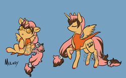 Size: 1300x800   Tagged: safe, artist:lavvythejackalope, oc, oc only, oc:melody, alicorn, pony, :o, alicorn oc, clothes, colored hooves, eyes closed, open mouth, reference sheet, simple background, vest