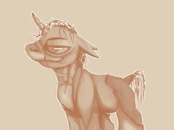 Size: 1374x1030 | Tagged: safe, artist:smirk, ghoul, pony, undead, unicorn, fallout equestria, lidded eyes, male, monochrome, ms paint, scar, sepia, solo, stallion, unnamed pony