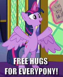 Size: 601x737 | Tagged: safe, edit, edited screencap, screencap, twilight sparkle, alicorn, shadow play, bipedal, caption, cropped, cute, free hugs, image macro, meme, solo, text, twiabetes, twilight sparkle (alicorn)