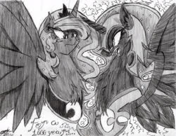 Size: 1978x1532   Tagged: safe, artist:petanoprime, nightmare moon, princess luna, alicorn, pony, blush sticker, blushing, bust, chest fluff, duality, duo, ethereal mane, fangs, female, frown, grayscale, helmet, jewelry, mare, monochrome, open mouth, peytral, signature, starry mane, text, tiara, traditional art