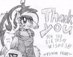 Size: 1936x1504 | Tagged: safe, artist:petanoprime, oc, oc only, oc:electric sketch, pegasus, pony, clothes, collar, female, freckles, grayscale, happy birthday, hat, hoodie, mare, monochrome, onomatopoeia, party hat, party horn, signature, solo, tail wag, text, traditional art