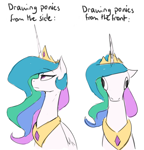 Size: 808x843 | Tagged: safe, artist:anticular, princess celestia, alicorn, pony, comparison, derp, female, front view, hoers, jewelry, majestic as fuck, mare, peytral, princess celestia is a horse, realistic, regalia, side view, simple background, sitting, solo, text, truth, wall eyed, white background