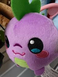Size: 1080x1440   Tagged: safe, spike, dragon, blushing, irl, photo, plushie, solo, toy