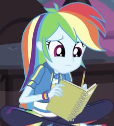 Size: 655x723 | Tagged: safe, screencap, rainbow dash, equestria girls, the finals countdown, spoiler:eqg series, cropped, cute, dashabetes, geode of super speed, magical geodes, notebook, pencil, solo