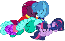 Size: 1394x895   Tagged: safe, artist:徐詩珮, fizzlepop berrytwist, glitter drops, spring rain, tempest shadow, twilight sparkle, alicorn, unicorn, series:sprglitemplight diary, series:sprglitemplight life jacket days, series:springshadowdrops diary, series:springshadowdrops life jacket days, alternate universe, base used, bisexual, broken horn, clothes, cute, equestria girls outfit, female, glitterbetes, glitterlight, glittershadow, horn, lesbian, lifeguard, lifeguard spring rain, nap, paw patrol, polyamory, shipping, simple background, sleeping, sprglitemplight, springbetes, springdrops, springlight, springshadow, springshadowdrops, swimsuit, tempestbetes, tempestlight, transparent background, twilight sparkle (alicorn)