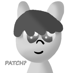 Size: 1000x1000 | Tagged: artist needed, safe, oc, oc only, oc:patch patch, gray eyes, gray fur, gray mane, grayscale, looking at you, miiverse, monochrome, simple background, solo, transparent background