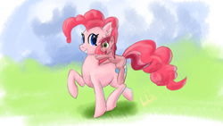Size: 3840x2160 | Tagged: safe, artist:archonix, pinkie pie, ruby pinch, earth pony, pony, unicorn, blank flank, female, filly, mare, pointing, ponies riding ponies, riding, simple background, smiling, walking