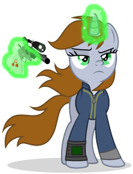 Size: 1084x1414 | Tagged: safe, artist:mlptmntdisneykauane, artist:sailorrainbowyt, oc, oc only, oc:littlepip, pony, unicorn, fallout equestria, badass, base used, clothes, fanfic, fanfic art, female, glowing horn, gun, handgun, hooves, horn, levitation, little macintosh, magic, mare, optical sight, pipbuck, revolver, show accurate, simple background, solo, telekinesis, transparent background, vault suit, vector, weapon