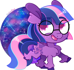 Size: 782x742 | Tagged: safe, artist:amberpone, twilight sparkle, earth pony, pony, alternate design, chest fluff, cute, digital art, eyebrows, female, filly, fluffy, freckles, g5, glasses, happy, looking at you, mare, paint tool sai, pink eyes, purple, redesign, simple background, solo, space, stars, transparent background, twilight sparkle (g5), unshorn fetlocks