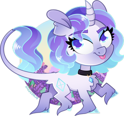 Size: 1088x1019 | Tagged: safe, artist:amberpone, rarity, pony, unicorn, alternate design, blue eyes, chest fluff, collar, cute, digital art, eyebrows, female, g5, horn, jewelry, looking at you, makeup, mare, necklace, paint tool sai, piercing, purple, rarity (g5), redesign, simple background, smiling, solo, tongue out, tongue piercing, transparent background, unshorn fetlocks