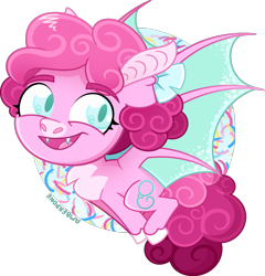 Size: 1021x1065 | Tagged: safe, artist:amberpone, pinkie pie, bat pony, pony, alternate design, bat wings, blue eyes, chest fluff, chibi, cute, digital art, eyebrows, fangs, female, flying, g5, happy, looking at you, mare, paint tool sai, pigtails, pink, pinkie pie (g5), redesign, ribbon, simple background, solo, transparent background, unshorn fetlocks, wings