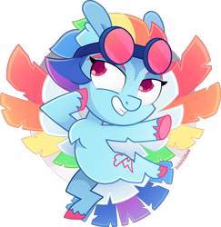 Size: 1112x1146 | Tagged: safe, artist:amberpone, rainbow dash, pegasus, pony, spoiler:g5, alternate design, bird tail, chest fluff, colored wings, colorful, cute, digital art, eyebrows, female, flying, g5, goggles, looking at you, mare, multicolored hair, multicolored wings, paint tool sai, pink eyes, rainbow, rainbow dash (g5), rainbow wings, redesign, short mane, simple background, smiling, solo, transparent background, unshorn fetlocks, wings