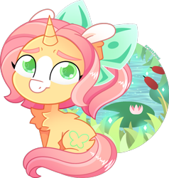 Size: 1004x1054 | Tagged: safe, artist:amberpone, fluttershy, pony, unicorn, spoiler:g5, alternate design, chest fluff, cute, digital art, female, fluffy, fluttershy (g5), g5, green eyes, horn, looking at you, mare, paint tool sai, pond, ponytail, redesign, simple background, sitting, smiling, solo, transparent background