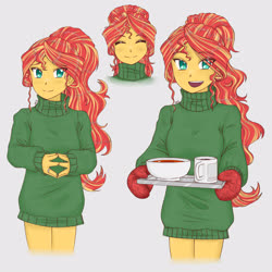 Size: 3582x3582 | Tagged: safe, artist:dragonemperror2810, sunset shimmer, human, equestria girls, anime, bottomless, clothes, coffee, cup, cute, eye clipping through hair, eyes closed, female, food, high res, open mouth, oven mitts, partial nudity, shimmerbetes, simple background, solo, soup, sweater, tray, white background, winter