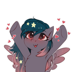 Size: 2649x2487 | Tagged: safe, alternate version, artist:share dast, oc, oc only, oc:star universe, pegasus, pony, armpits, blushing, cute, ethereal mane, female, happy, heart, high res, hooves, hooves up, love, mare, ocbetes, open arms, silly, silly face, simple background, solo, spread wings, starry mane, tongue out, transparent background, upsies, white outline, wings