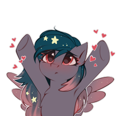 Size: 2649x2487 | Tagged: safe, alternate version, artist:share dast, oc, oc only, oc:star universe, pegasus, pony, armpits, blushing, cute, ethereal mane, female, heart, high res, hooves, hooves up, love, mare, ocbetes, open arms, sad, simple background, solo, spread wings, starry mane, tongue out, transparent background, upsies, white outline, wings