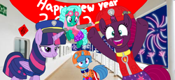 Size: 2340x1080 | Tagged: safe, artist:徐詩珮, fizzlepop berrytwist, glitter drops, spring rain, tempest shadow, twilight sparkle, alicorn, unicorn, series:sprglitemplight diary, series:sprglitemplight life jacket days, series:springshadowdrops diary, series:springshadowdrops life jacket days, alternate universe, base used, bisexual, broken horn, clothes, cute, equestria girls outfit, female, glitterbetes, glitterlight, glittershadow, happy new year, happy new year 2020, holiday, horn, lesbian, lifeguard, lifeguard spring rain, paw patrol, polyamory, shipping, sprglitemplight, springbetes, springdrops, springlight, springshadow, springshadowdrops, swimsuit, tempestbetes, tempestlight, twilight sparkle (alicorn)