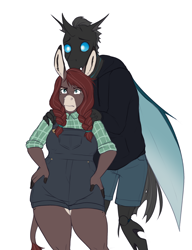 Size: 1958x2550 | Tagged: safe, artist:askbubblelee, kevin (changeling), oc, oc:maple, anthro, changeling, donkey, unguligrade anthro, anthro oc, canon x oc, clothes, digital art, donkey oc, female, male, overalls, protecting, simple background, straight