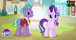 Size: 960x504 | Tagged: safe, firelight, starlight glimmer, pony, unicorn, the parent map, cute, duo, facebook, father and child, father and daughter, female, fountain, gameloft, glimmerbetes, lidded eyes, looking at you, male, mare, my little pony logo, stallion