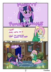Size: 3114x4354 | Tagged: safe, artist:kumakum, fluttershy, twilight sparkle, anthro, unguligrade anthro, comic:tentacle trouble, all fours, chalk, clothes, comic, cute, dialogue, fluttershy's cottage, kneeling, magic, magic circle, necktie, puppy dog eyes, skirt, summoning, summoning circle, sweater, sweatershy, this will end in demons, this will end in pain and/or tears and/or death, tongue out, twiabetes, vest