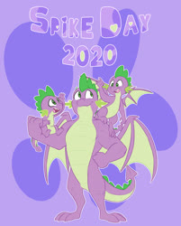 Size: 3150x3923 | Tagged: safe, artist:chub-wub, spike, dragon, the last problem, spoiler:s09e26, age progression, cute, gigachad spike, high res, male, muscles, older, older spike, open mouth, purple background, simple background, smiling, solo, spikabetes, spike day, time paradox, triality, winged spike