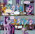 Size: 1112x1096 | Tagged: safe, artist:pencils, edit, idw, gallus, ocellus, sandbar, silverstream, smolder, spike, twilight sparkle, yona, alicorn, changeling, dragon, earth pony, griffon, hippogriff, pony, yak, spoiler:comic, spoiler:comic84, comic, dragoness, female, funny, gallspike, male, mare, shipping, spolder, straight, student six, text edit, twilight sparkle (alicorn), winged spike